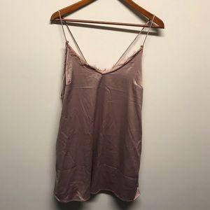 Nude/pink loose satin lace dress